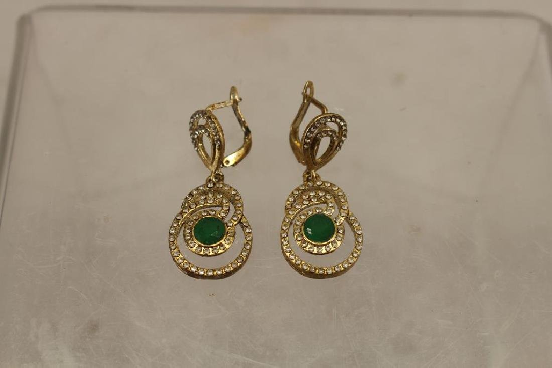 Pair of Mixed Stone Green Earrings