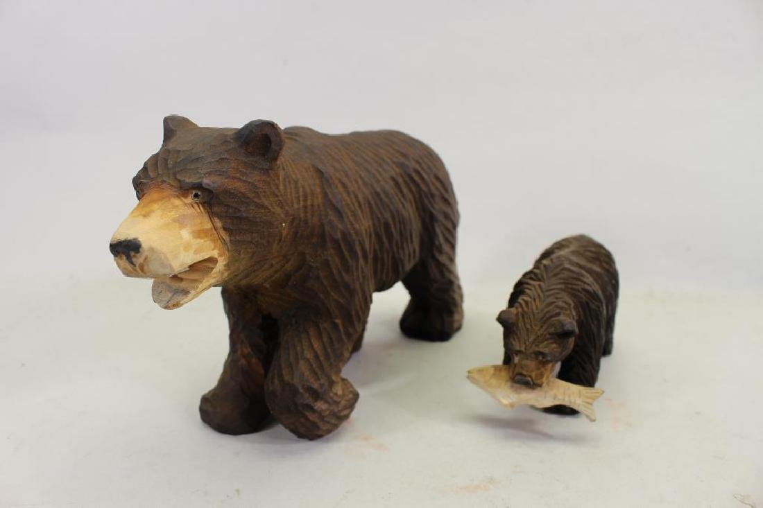 Vintage Carved Wooden Bear & Cub