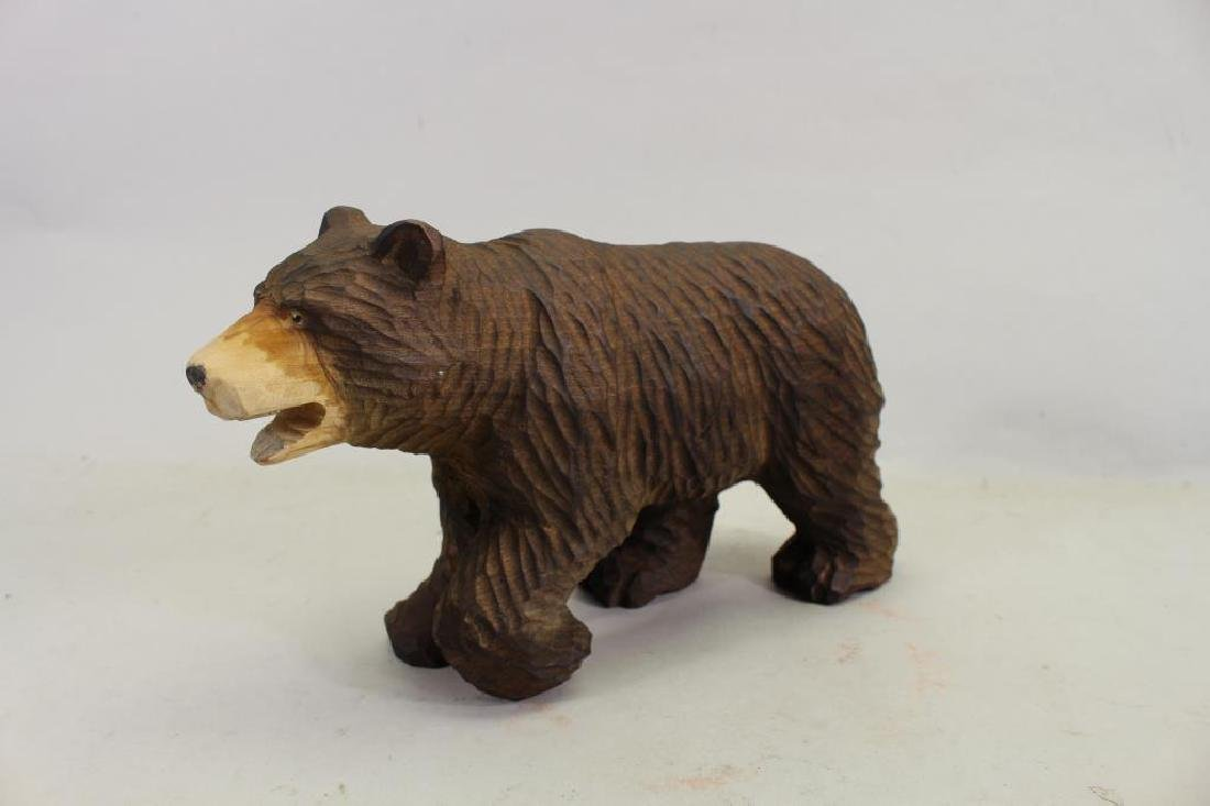 Vintage Carved Wooden Bear & Cub - 2