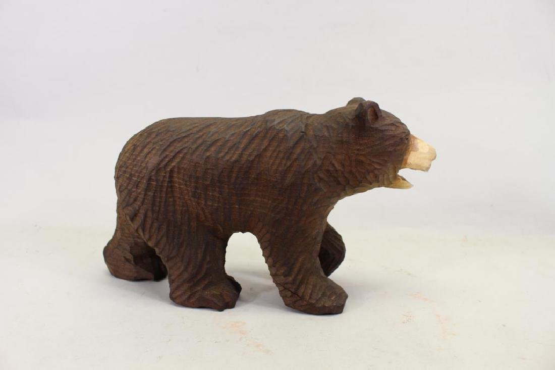 Vintage Carved Wooden Bear & Cub - 3