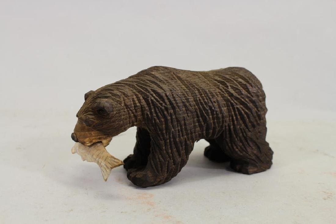 Vintage Carved Wooden Bear & Cub - 4