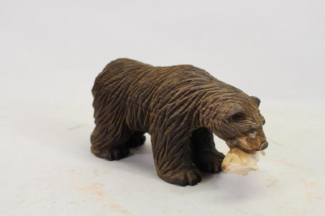 Vintage Carved Wooden Bear & Cub - 5