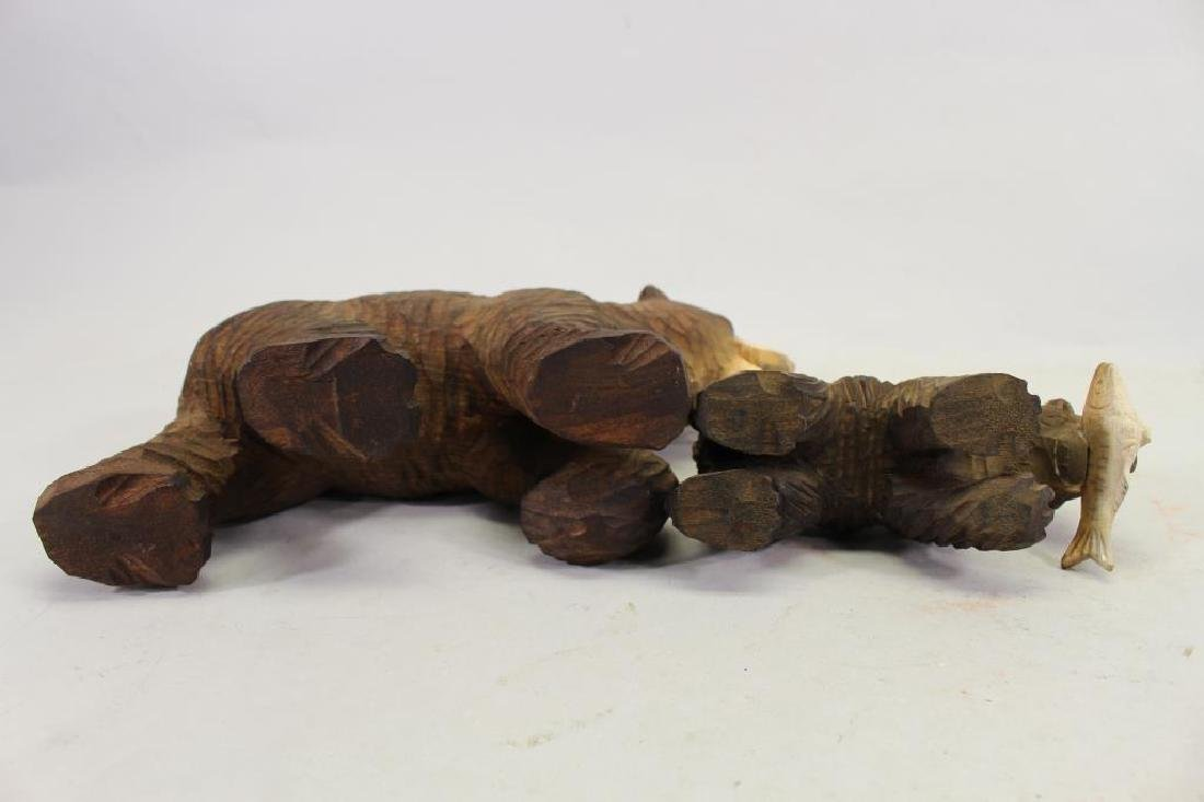 Vintage Carved Wooden Bear & Cub - 6