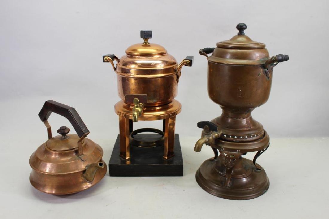 (2) Manning Bowman Samovars, (1) Copper Teapot