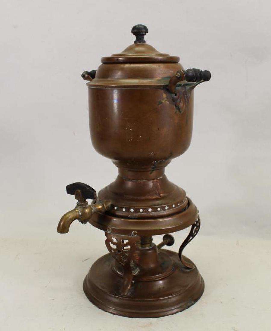 (2) Manning Bowman Samovars, (1) Copper Teapot - 6