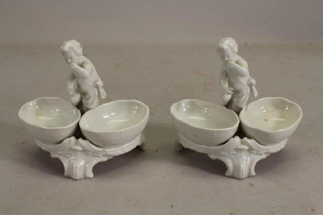 (2) French Porcelain Figural Open Salts