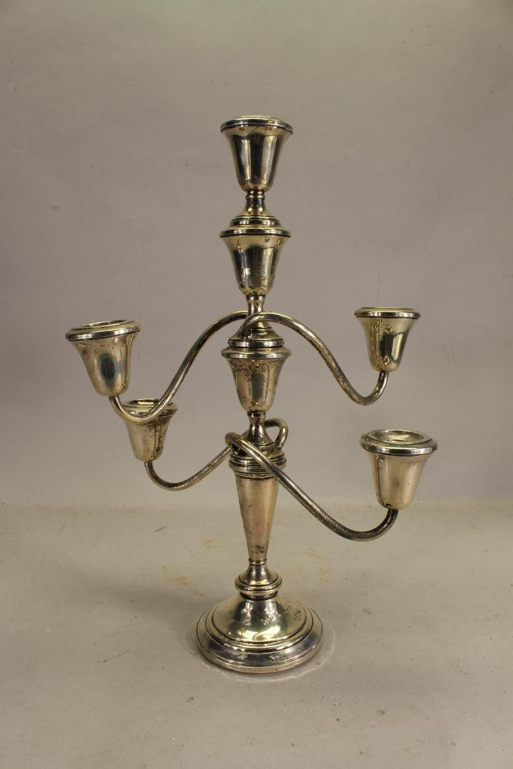 Fisher Weighted Silverplate 4-arm Candelabra