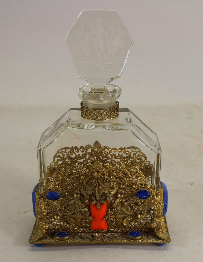 Lalique Style, Perfume Bottle in Gilded Case