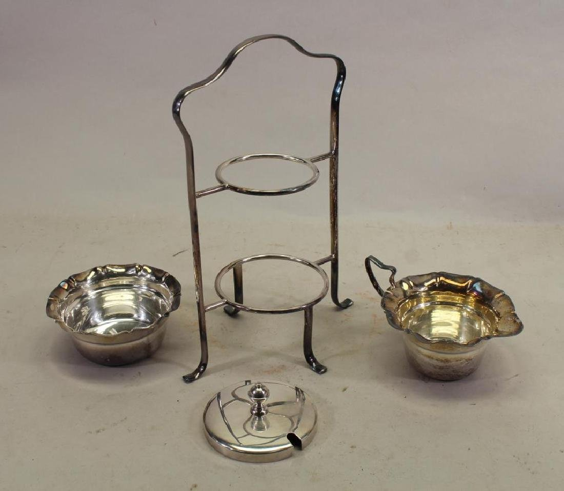 (4) Pc Silverplate Condiment Stand - 4