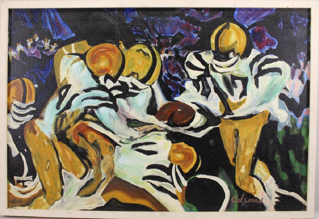 Coleman, Signed Painting of a Football Game