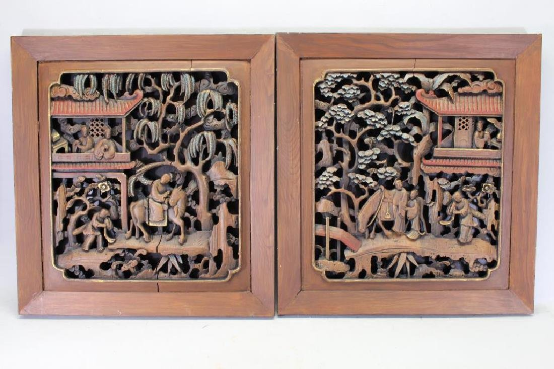 (2) Chinese Carved Wooden Architectural Panels