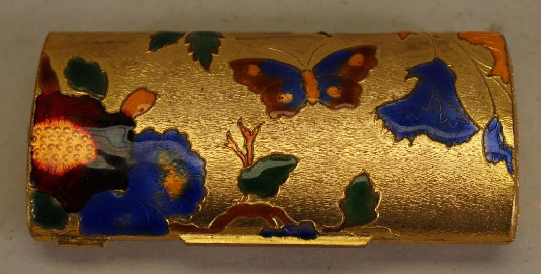 Italian Gilt/Enameled Container w Butterflies