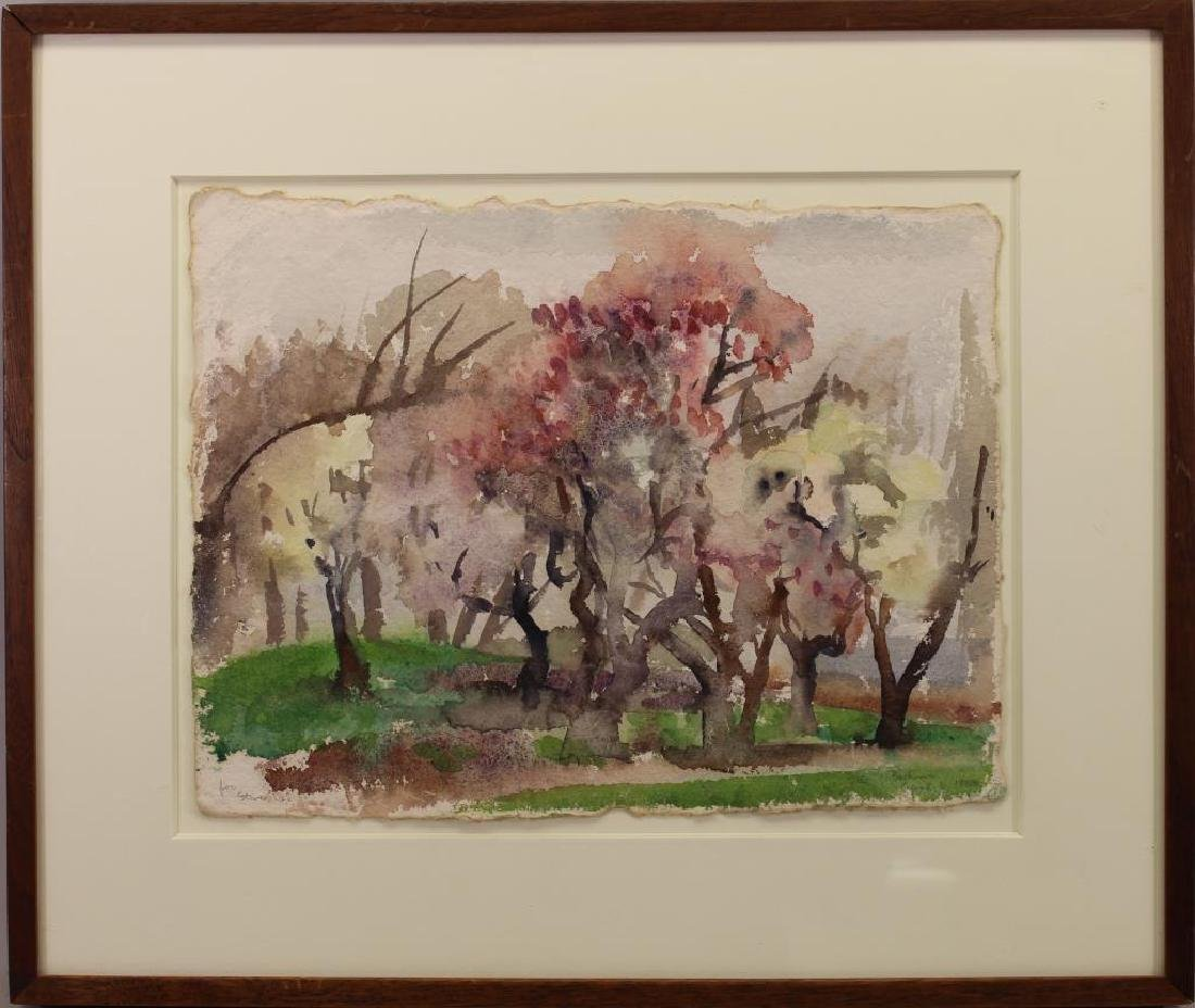 Signed Watercolor of a Wooded Landscape