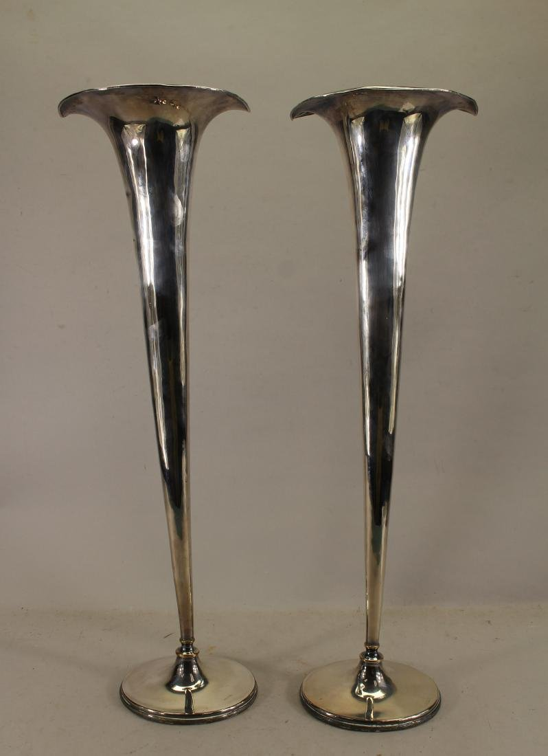 (2) Large Silverplate Trumpet Vases
