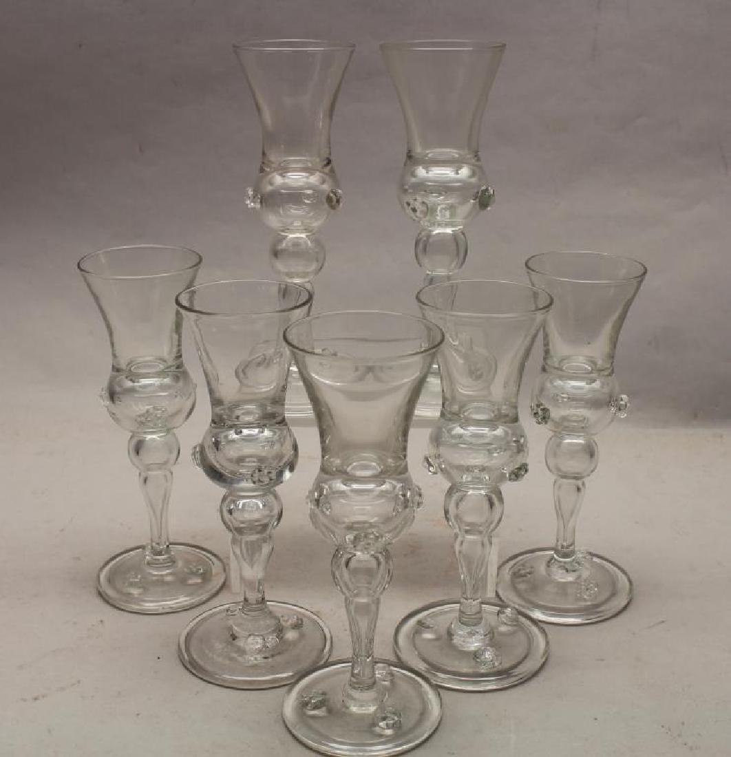 (7) Steuben Style Glass Stemware