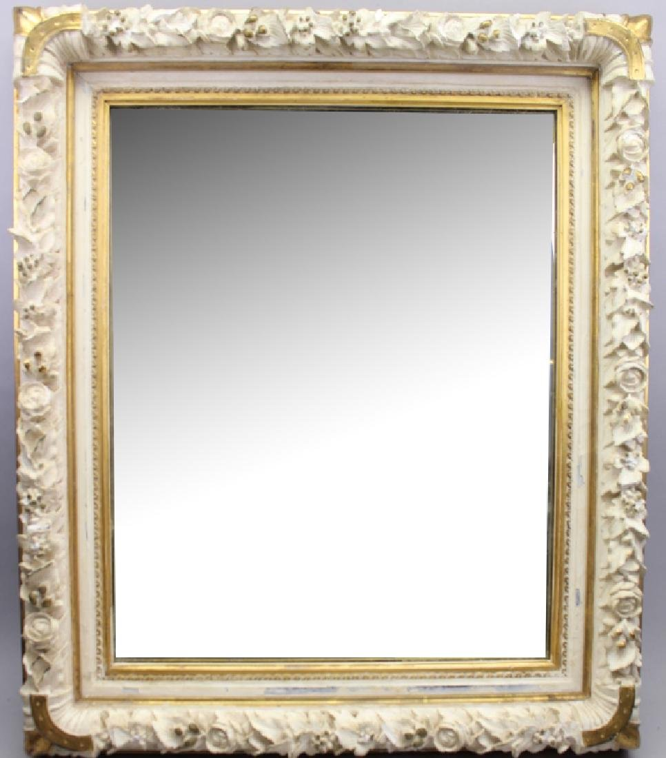 Carved 20th C. White Mirror