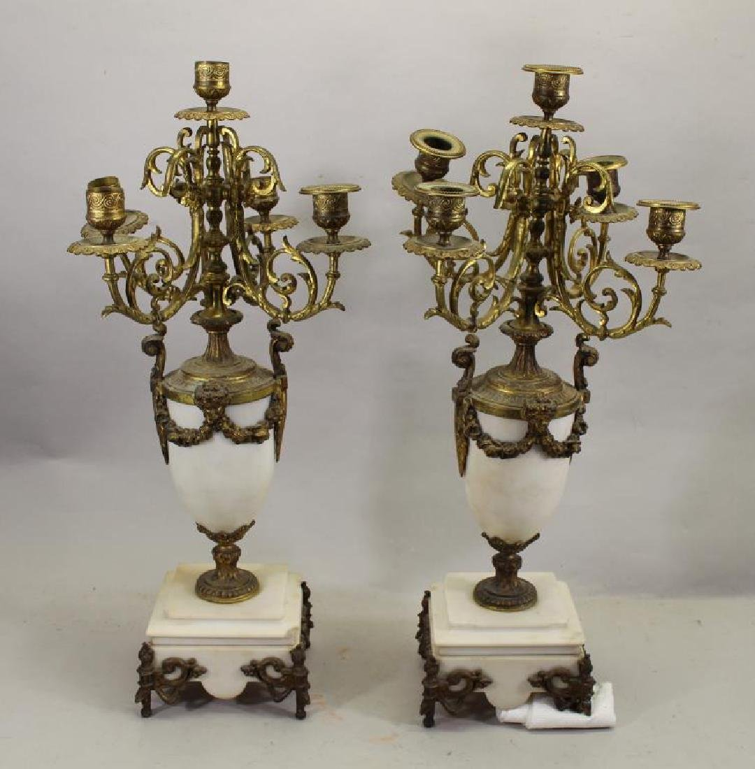 Pair of French Marble/Bronze Candelabra