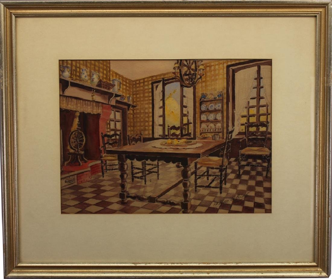 Signed 19th C. French Interior Scene