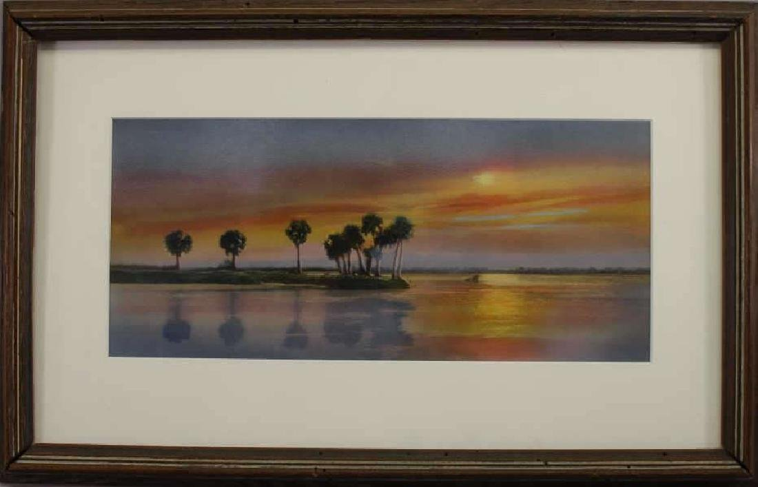 Barnhill, Signed Mixed Media of Florida Sunset