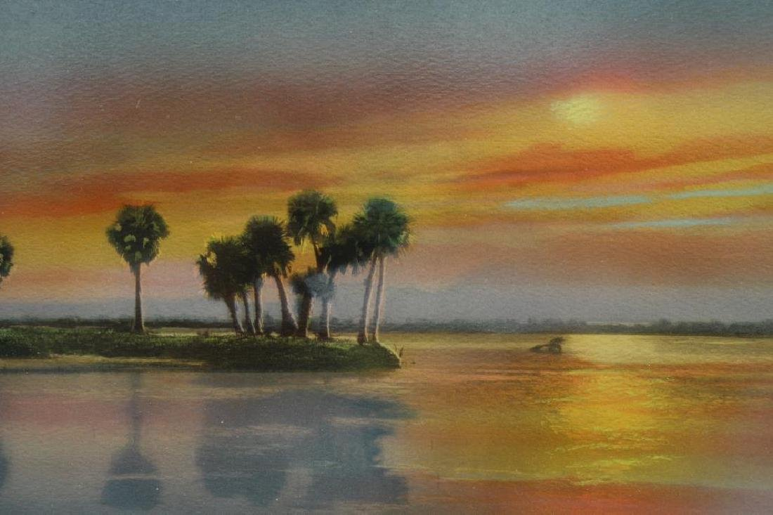 Barnhill, Signed Mixed Media of Florida Sunset - 2
