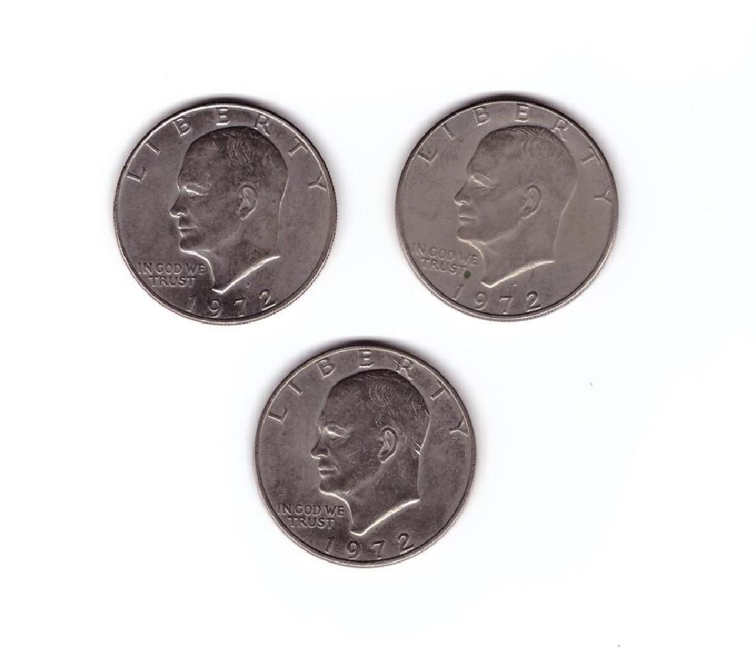 (3) 1972 Eisenhower Dollar