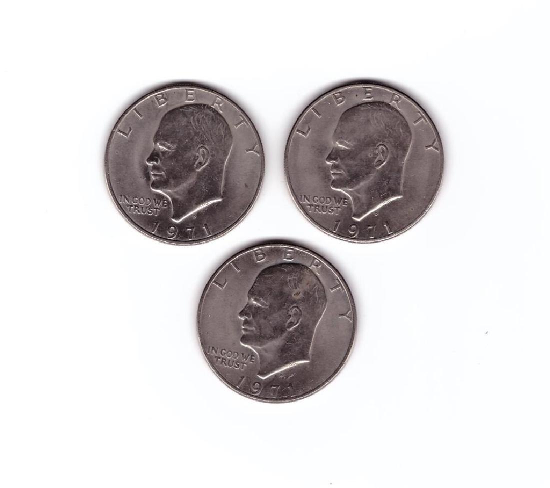 (3) 1971 Eisenhower Dollar