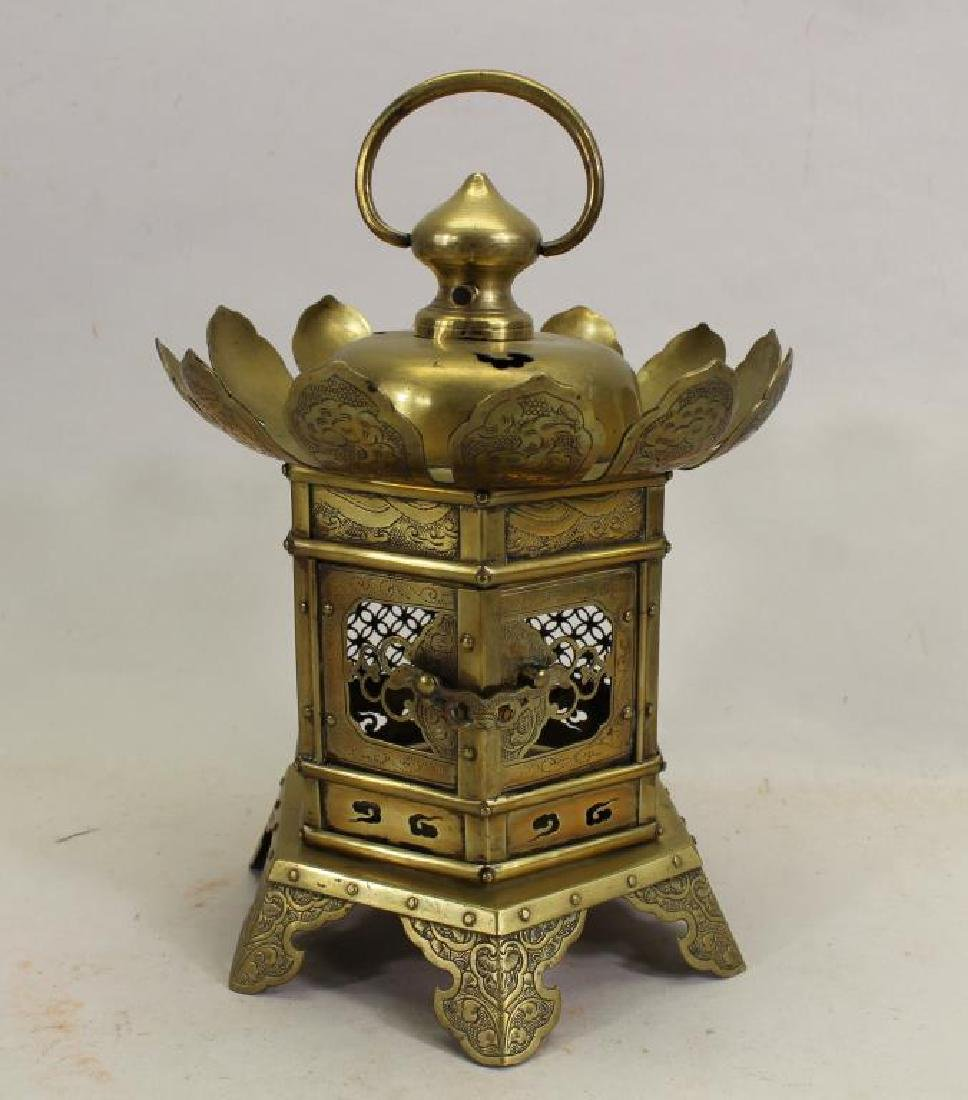 Antique Oriental Brass Hanging Temple Lantern