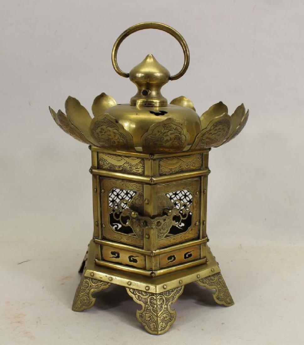 Antique Oriental Brass Hanging Temple Lantern