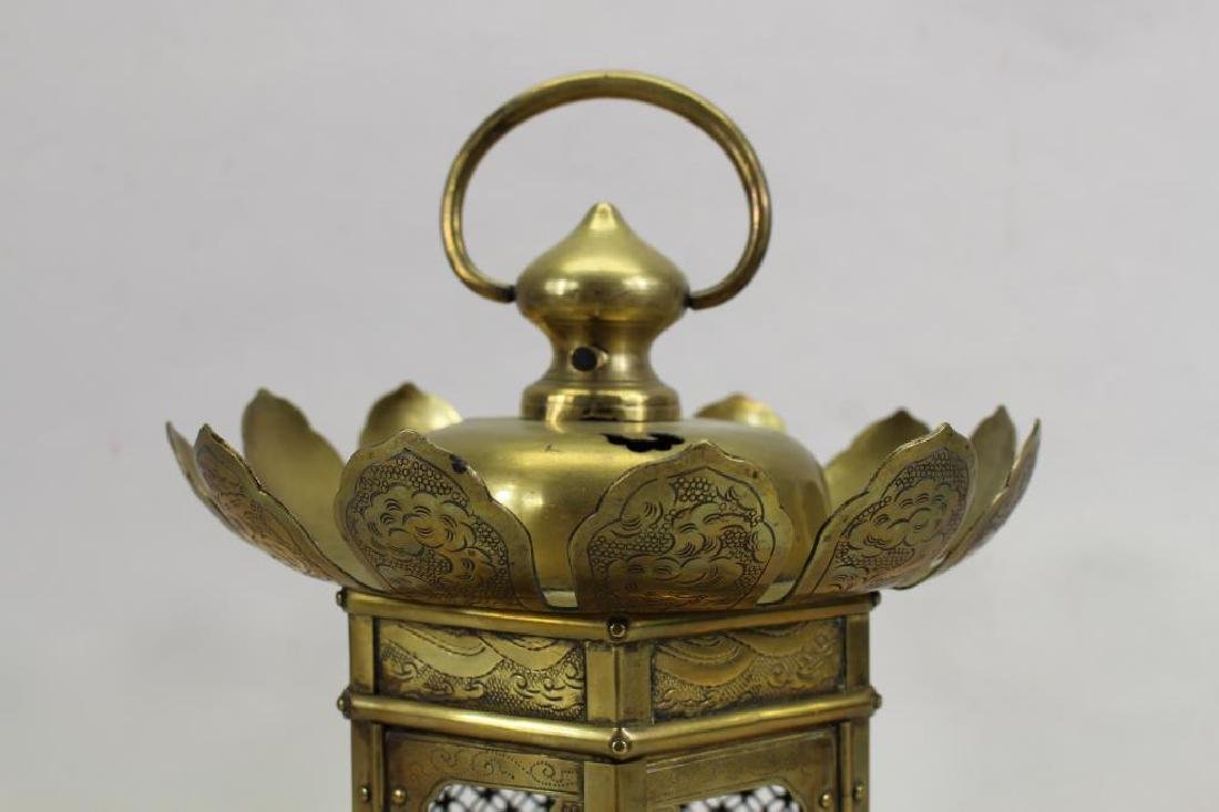 Antique Oriental Brass Hanging Temple Lantern - 2