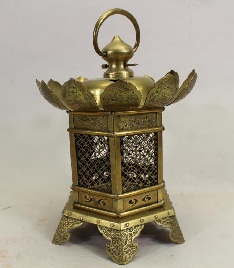 Antique Oriental Brass Hanging Temple Lantern - 4