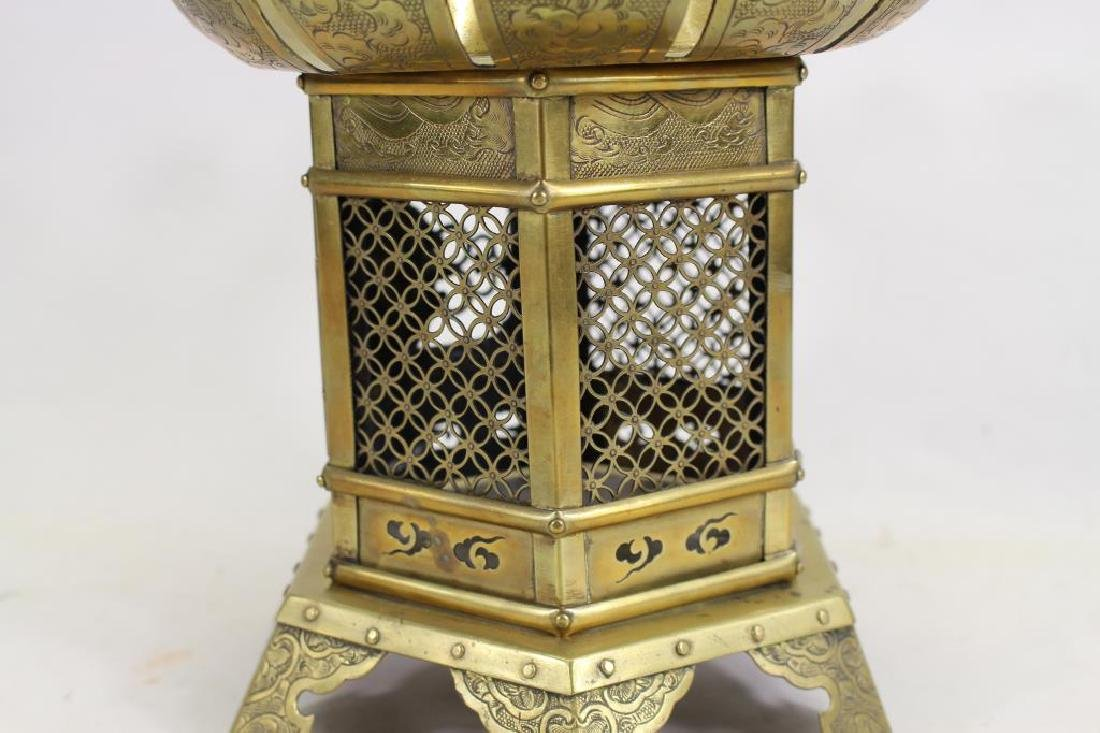 Antique Oriental Brass Hanging Temple Lantern - 5