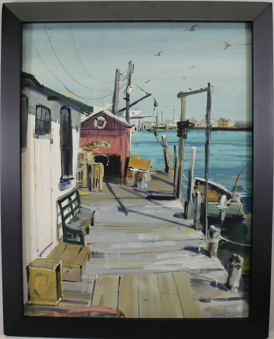Signed, American School Painting of Boat Dock