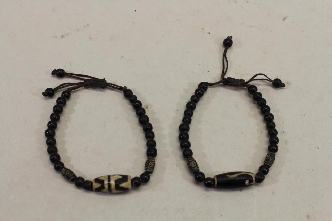 (2) Black Beaded Bracelets