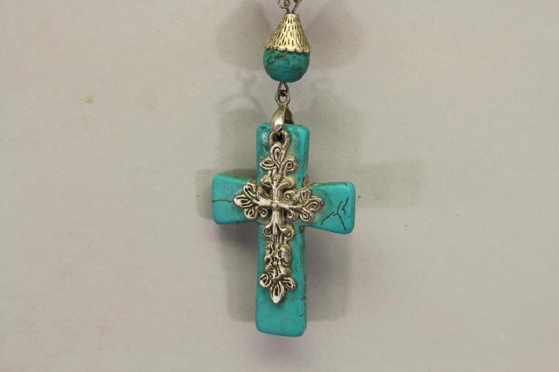 Turquoise Beaded Necklace with Cross Pendant - 3