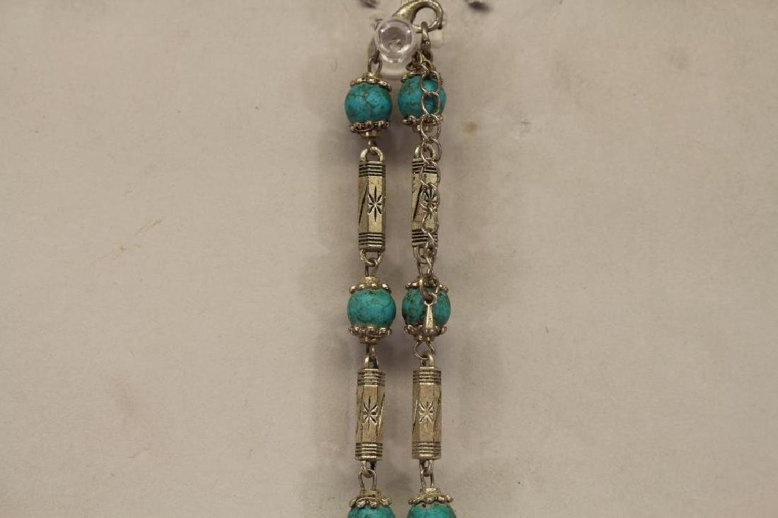 Turquoise Beaded Necklace with Cross Pendant - 4