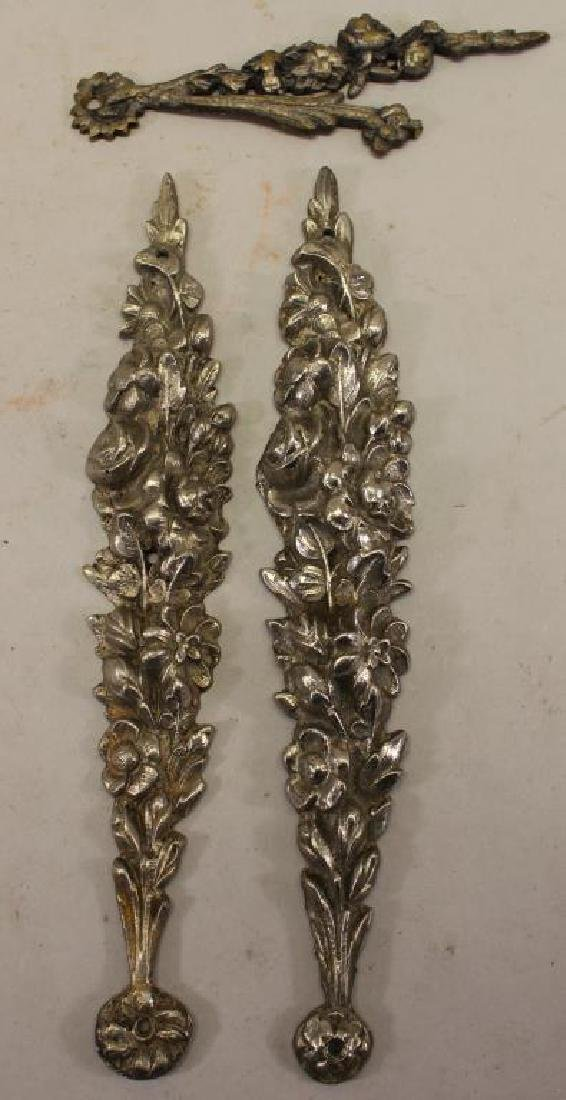 (3) Silvered Bronze Floral Mounts