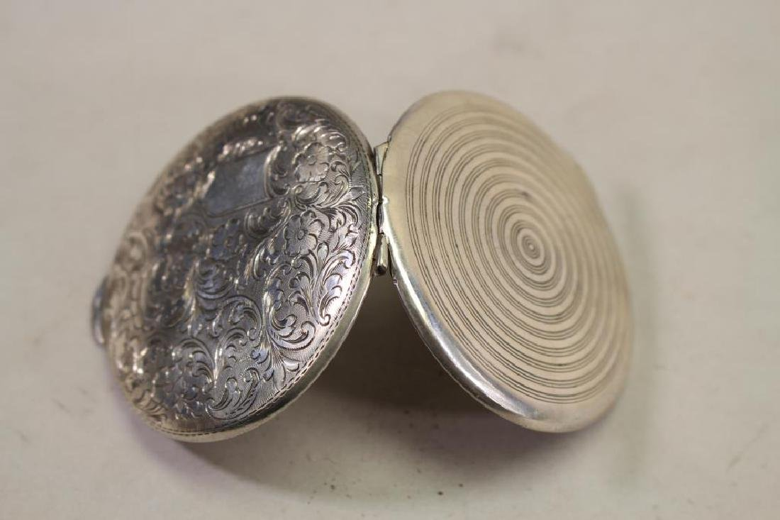 800 Silver Hand Engraved Compact - 4