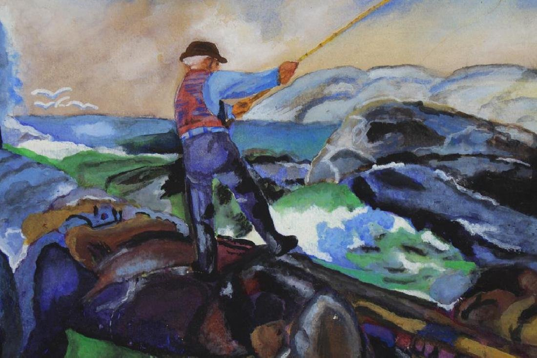 20th C. Mixed Media Painting of Man Fishing