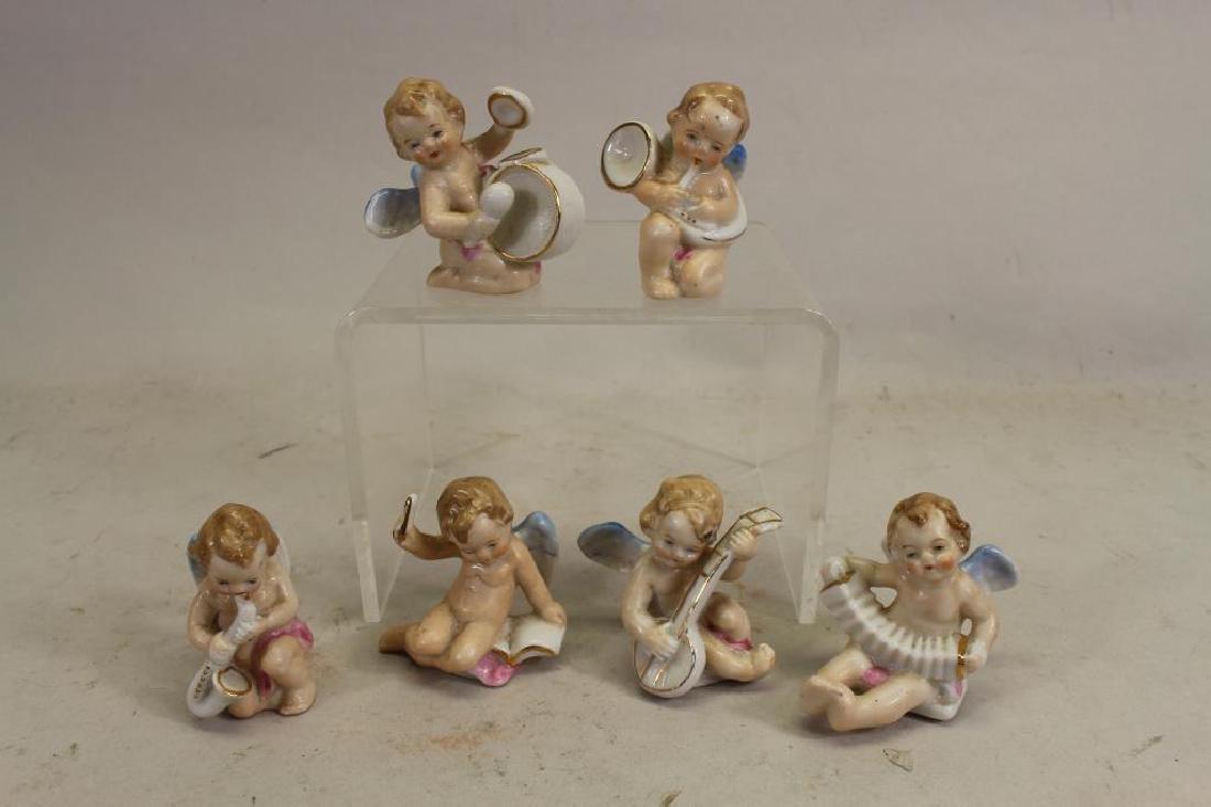 (6) Miniature Japanese Painted Porcelain Cherubs