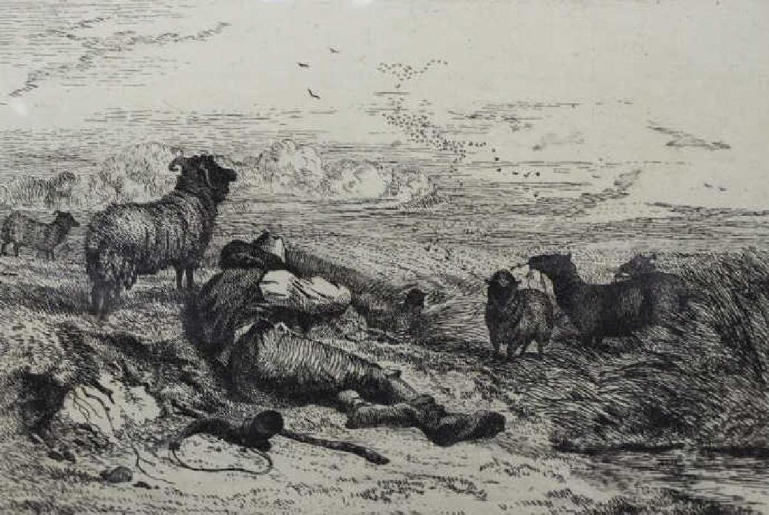 19th C. English Engraving of Bucolic Landscape