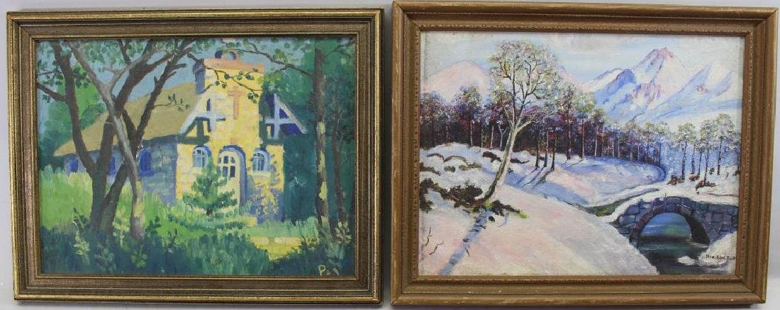 (2) Signed Winter & Spring Landscapes