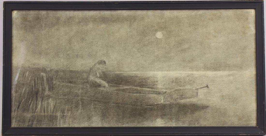 Antique Tonalist Pencil Sketch