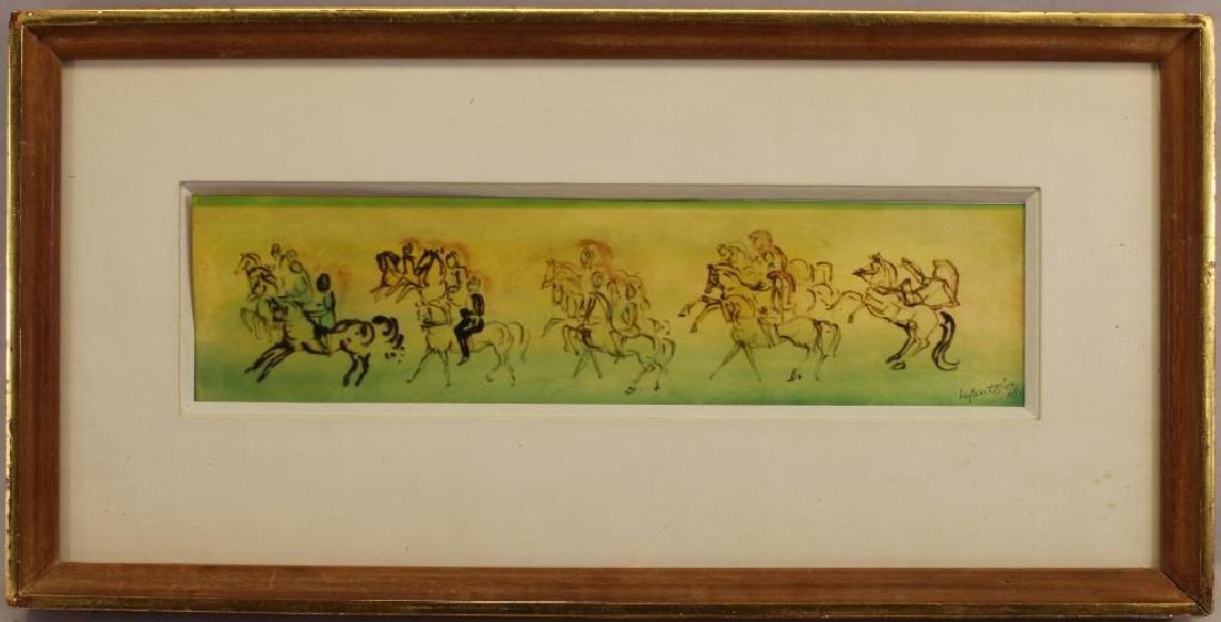 Signed, '58 Mixed Media of Riders on Horseback