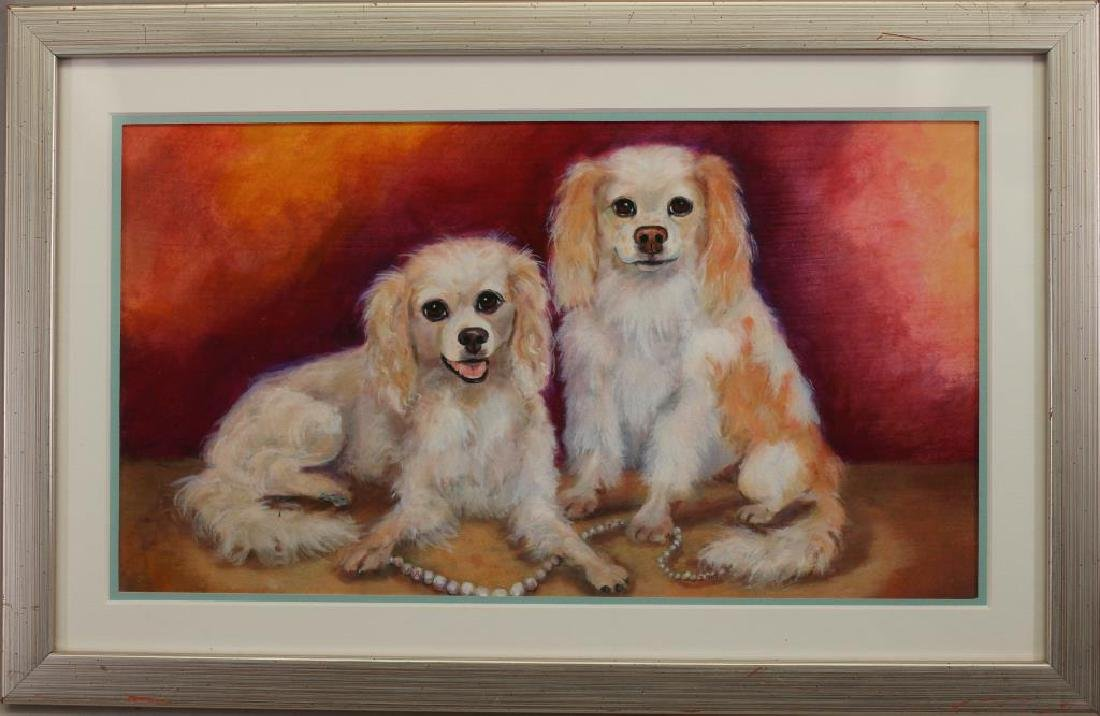 20th C. Mixed Media of Dogs w/ String of Pearls