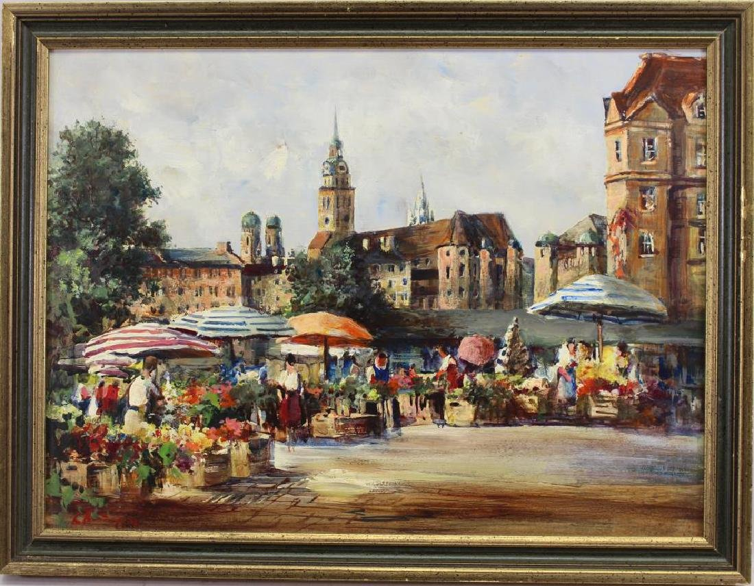 Signed 20th C. European Painting of Flower Market