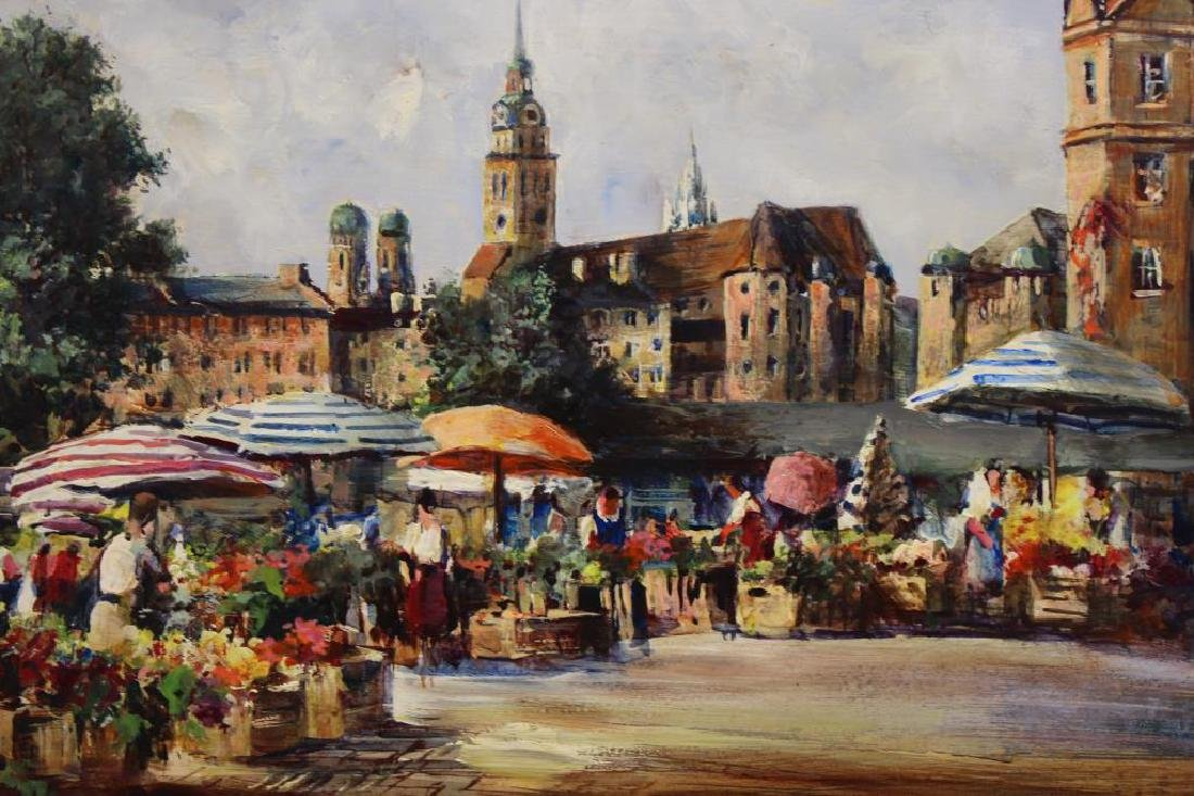 Signed 20th C. European Painting of Flower Market - 2