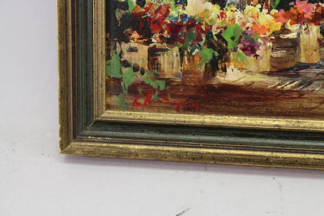 Signed 20th C. European Painting of Flower Market - 3