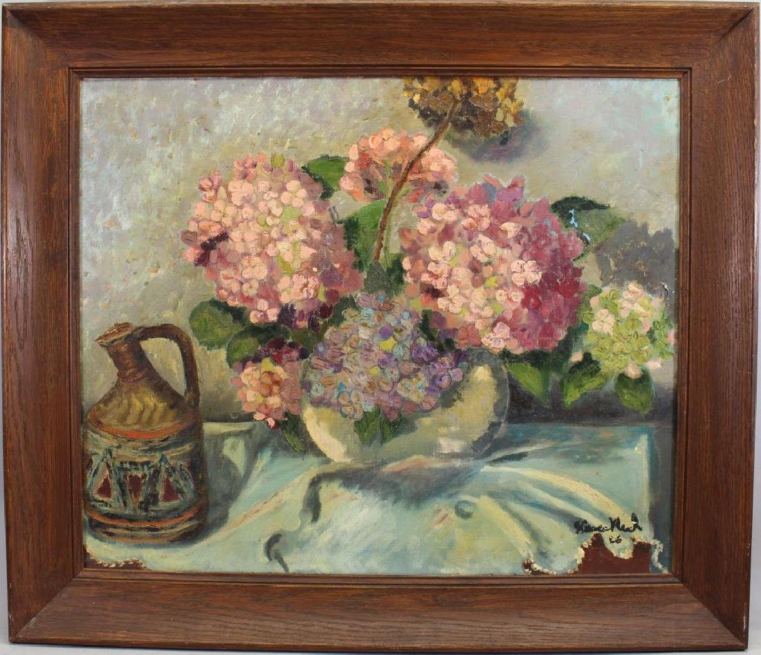 Signed, 20th C. Painting of Bouquet of Flowers