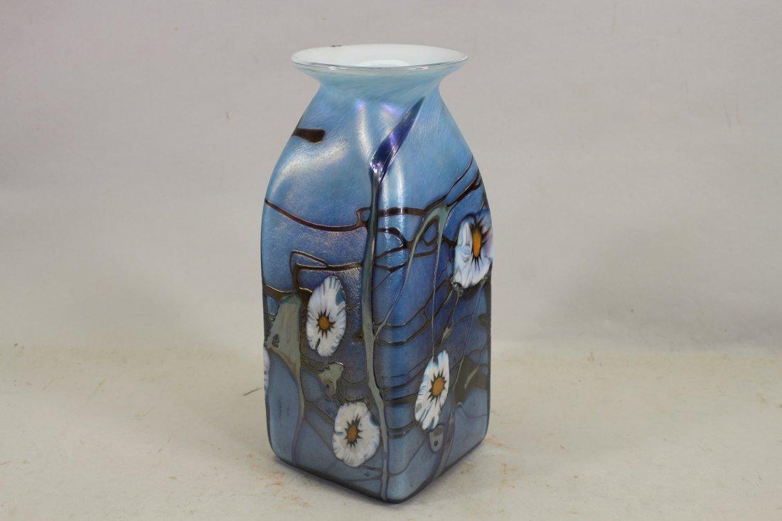 Vintage Aurene Style Glass Vase, Signed