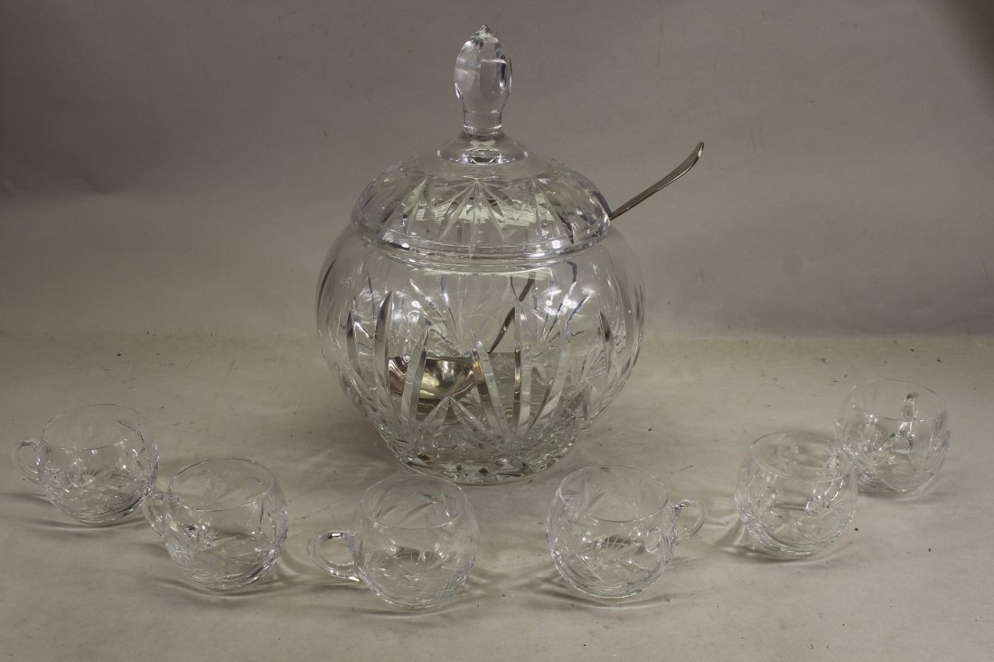 Cut Glass Covered Punch Bowl with 6 Cups